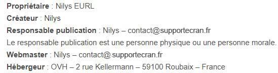Mentions Légales supportecran.fr